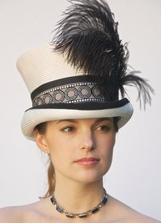 Kentucky Derby Hat. Deco Inspired Top Hat, Mad Hatter, Victorian English Riding Hat. Ascot.
