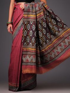 Pink-Black Tussar Silk Kantha Embroidered Saree