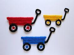 1pc 6 Crochet WAGON Applique by PinkMeStudio on Etsy