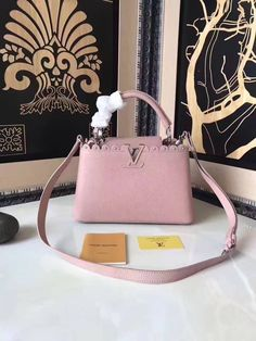 Louis Vuitton Taurillon Leather Capucines BB With Lace & Studs Edge Pink 2017 ] : Real Bag Sale Louis Vuitton 2017, Pre Owned Louis Vuitton, Louis Vuitton Handbags, Designer Bags For Less, Bags 2018, Handbags On Sale, Bag Sale, Monogram, Leather