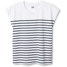 Past Striped Tee (830 UYU) ❤ liked on Polyvore featuring tops, t-shirts, shirts, white, stripe tee, striped shirt, cotton shirts, white striped shirt and white shirt