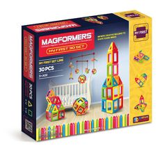 Magformers My First Set (30 PCS) - The perfect introductory set for imaginative creators. Learn 6 different colours, 2 geometric shapes and all 6 MAGFORMERS® building techniques. Create towers, houses and the MAGFORMERS® Magic Ball. Each geometric shape contains magnets that never reject, so you'll always hear the MAGFORMERS® click. When playtime is over, use the magnetic power to simply stack and store.