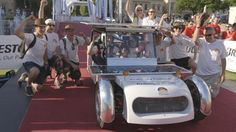 Solar car crossing finishing line