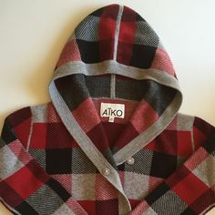 Neiman Marcus AIKO Plaid Cardigan Sweater Gently worn hooded sweater with large covered snap closures. Snaps are offset to fasten like a double breasted sweater. Side pockets, long sleeves.  Wool 40%/ Viscose/ 25%/Nylon 25%/ Cashmere 10%.  Dry clean. AIKO Sweaters Cardigans