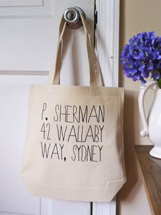 P. Sherman, Finding Nemo tote, disney pixar tote bag, Finding nemo, P. Sherman by rachelwalter on Etsy https://www.etsy.com/listing/101433590/p-sherman-finding-nemo-tote-disney-pixar