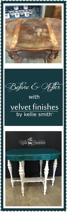 Re-Loved Antique Table makeover with Velvet Finishes furniture paint in a custom color with multiple colors of glaze to make a Peacock Finish. It's come a long way via The Wild Dandelion, VF retailer www.velvetfinishes.com #velvetfinishes #furniturepaint