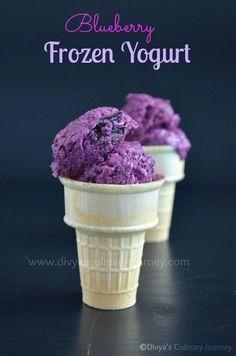 Blueberry Frozen Yogurt - Easy to make delicious frozen yogurt with fresh blueberries without ice cream maker.