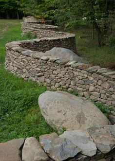 Curved stone wall feature from Storm King Arts Center  // Great Gardens & Ideas //