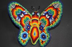Specializing in rare selected Mexican Folk Art and Crafts and prehispanic instruments Mexican Folk Art, Beading, Arts And Crafts, Butterfly, American, Beads, Pearls, Art And Craft, Butterflies