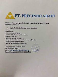 Lowongan Kerja Batam PT. Precindo Abadi (01/12/2020) Batam