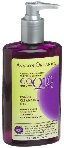 Coq10 Facial Cleansng Gel 246ml 8.50 Ounces by Avalon Organics. $11.27. Serving Size:. 8.5 Ounces Liquid. Suitable for Vegetarians. Cellular renewing wrinkle defense. Enzyme skin care. For normal to oily skin. Gentle foaming wash to renew and refresh. Avalon Organics- Consciousness in Cosmetics. Safe, effective, pro-organic skin care without artificial colors, synthetic fragrances or parabens. EU Compliant. This gentle cleansing gel with organic Lavender and White Tea refreshes a...