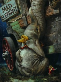 """Pixar Drawing """"Baby of Mine"""" by Heather Theurer - Disney Fine Art Dumbo Wall Art from The Incredible Art Gallery - Artist: Heather Theurer Size: x Giclee on Canvas Limited Edition of 1500 Gallery Wrapped and Ready to Hang Disney Fan Art, Disney Pixar, Disney E Dreamworks, Heros Disney, Film Disney, Disney Love, Disney Characters, Lilo Et Stitch, Animation"""