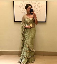 Style Array Present Bollywood Green Color Butterfly Mono Net With Benglory Silk Blouse Branded saree .Buy This Attractive Look Bollywood Green Color Butterfly Mono Net With Benglory Silk Blouse Branded saree Bollywood Saree, Bollywood Fashion, Bollywood Actress, Indian Dresses, Indian Outfits, Pakistani Outfits, Stylish Sarees, Stylish Dresses, Elegant Saree