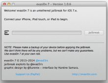 Evasi0n7 1.0.6 released with support for iOS 7.0.6