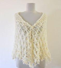 Ivory Mohair Shawl Crochet Wrap  $75