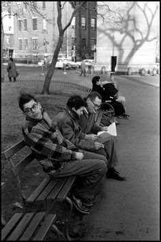 Allen Ginsberg, Gregory Corso, and Barney Rosset in Washington Square Park. 1957  photo: burt glinn