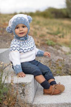 Mammahjerte Genser i Denim, kjøp den som strikkepakke hos HoY. Knit Crochet, Crochet Hats, Fair Isles, Baby Knitting Patterns, Diy And Crafts, Hipster, Children, Hair Styles, Boys
