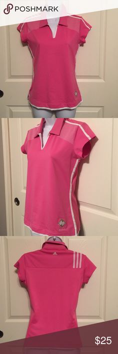 Adidas Sport golf blouse pink small Polo shirt Adidas clima cool pink polo shirt size small made in China pretty preowned in excellent condition.  Check out my other items, we have a lot of collectible, antiques, vintage, fashion jewelry, women's clothing, handbags, shoes, home decors, kitchen & more that you might be interested.  Let me know if you have any questions. Thank you & Have a Great Day!!! FREE GIFT with every purchase!!! Adidas Tops Tees - Short Sleeve