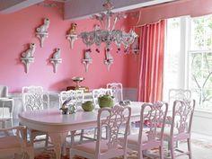 Pepto pink dining room by designer Carleton Varney.