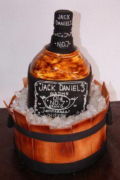 JacK Daniel's Cake: ohhh yes! Beautiful Cakes, Amazing Cakes, Cake Cookies, Cupcake Cakes, Jack Daniels Cake, Alcohol Cake, Cake For Husband, Bottle Cake, Buttercream Fondant