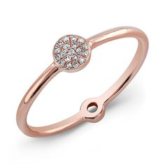 Buy Rose Gold Diamond Mini Disc Ring and other quality rose gold diamond rings at Anne Sisteron. Rose Gold Jewelry, Diamond Jewelry, Jewelry Box, Jewelry Rings, Jewellery, Diamond Rings, Pink And Gold, Jewelry Stores, Jewelry Collection