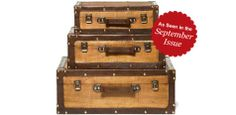 Wood & faux leather suitcases ($120 for set of 3, Wayfair.com) via @Country Living Magazine