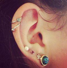 Cute piercings and earrings, love the cartilage