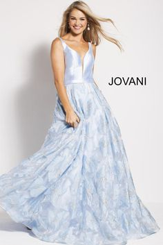 Jovani Prom 60841 Light Blue Sleeveless Plunging Neck Floral A Line Prom  Gown 60841 8fc05db6d
