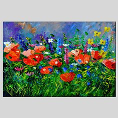 Flower Style Canvas Material Oil Paintings with Stretched Frame Ready To Hang Size 60*90CM – GBP £ 25.68