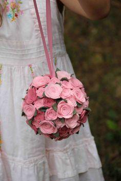 Flower Girl Felt Rose Pomander / Bouquet by byAllySen on Etsy, $65.00