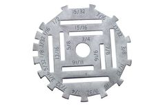 """[UMD Measuring Disc - Industrial notion/tool] Measures stitches, seams, needle spaces, trimmings and laces from 1/16"""" to 1"""". Made of heavy gauge stainless steel."""