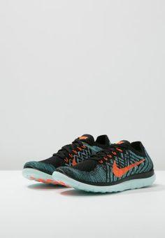 Nike Performance FREE 4.0 FLYKNIT  - Scarpe da corsa leggere - black/total orange/night factor/hyper jade - Zalando.it