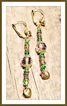 VINTAGE GYPSY EARRINGS SALE!!  Pink & Green Swarovski Crystal Antique Gold Heart Charm Vintage Rhinestone Earrings  #handmade #pink #green #gold #heart #crystal #earrings #jewelry #wholesale #sale #clearance #fashionista #gift #rhinestone #beautiful #boutique #onlineshopping