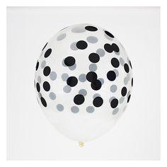 5 ballons de baudruche imprimés : confettis noirs