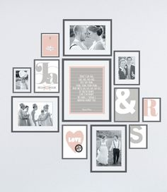 Wall collage with wedding photo & # s and prints in frames - photo wall