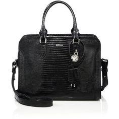 Alexander McQueen Padlock Small Lizard-Embossed Leather Zip Satchel ($1,595) ❤ liked on Polyvore featuring bags, handbags, apparel & accessories, black, leather purse, black purse, satchel purse, embossed leather handbag and leather satchel handbags