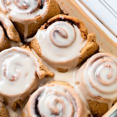 The ultimate comfort food anytime of year, these Gluten Free Cinnamon Rolls are made using primarily oat flour and coconut flour. The gluten-free dough is surprisingly easy to work with, and doesn't require a double rise which means you can have fresh cinnamon rolls from start to finish in less than two hours. Gluten Free Cinnamon Rolls, Gluten Free Baking, Easy Lettuce Wraps, Lexi's Clean Kitchen, Almond Butter Cookies, Coconut Flour, Oat Flour, Wrap Sandwiches, Cooking Time