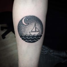 Dotwork ship at sea by Kaia Holbrook