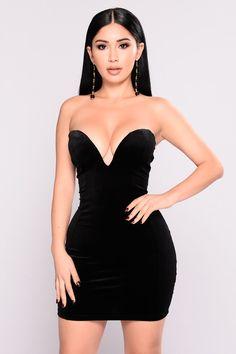 Kass Velvet Dress - Black