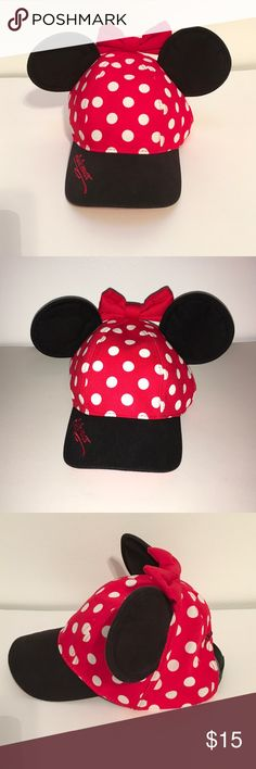 Minnie Mouse Baseball Cap Minnie Mouse Disneyland Authentic Polka Dot Baseball Cap with Ears Disney Accessories Hats
