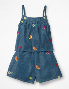 Fun Layered Romper Playsuits and Dungarees at Boden Girls Rompers, Girls Dresses, Spring Outfits, Kids Outfits, Spring Clothes, Bleu Indigo, Smocks, Mini Me, Dungarees