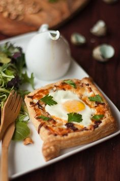 Egg Tart & Green Salad w/ Walnuts and Honey Mustard Dressing - delicious alternative to traditional fried egg breakfast..