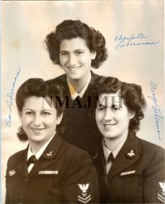 WWII photograph of three Liberman sisters - Charlotte, Eva, and Sara - in WAVES uniform.  (National Museum of American Jewish Military History)
