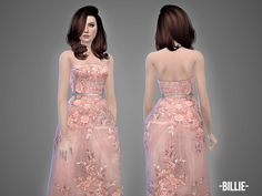 Billie - gown - The Sims 4 Catalog Fancy Gowns, Pink Gowns, Pink Mesh Top, Banquet Dresses, Casas The Sims 4, Sims 4 Dresses, Sims 4 Cc Packs, Short Gowns, Sims 4 Clothing