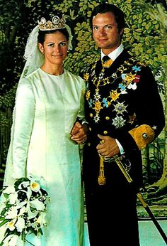 Queen Silvia and King Carl XVI Gustaf's (Sweden) wedding. 1976