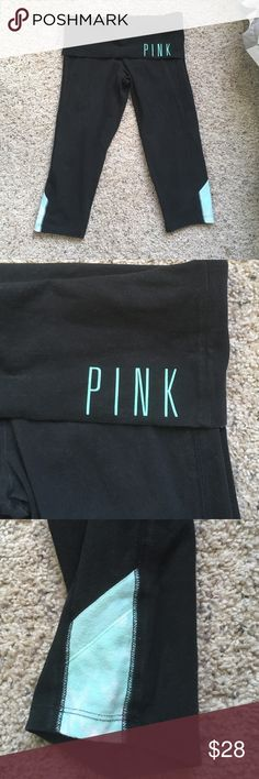 VS Pink Yoga Capris VS Pink Yoga black capris with fold over - delicate 'PINK' letters in turquoise. Matching contrast on bottom sides of legs. 87% cotton, 13% elastane. Size small PINK Victoria's Secret Pants