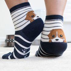 Navy Blue Striped Puppy Socks – iHeartDogs.com