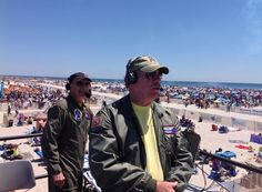 The Gruesome Twosome! Air Boss Wayne Boggs, and show announcer, Rob Reider sporting our patch at show centre - Jones Beach Air show Jones Beach, Fan Picture, Crew Clothing, Air Show, Baseball Cap, Centre, Transportation, Aviation, Boss