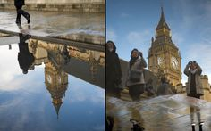 The Houses of Parliament and tourists are reflected in puddles after a rain storm in LondonPicture: Paul Grover