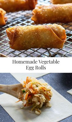 Homemade Vegetable Egg Rolls are a great vegan or vegetarian appetizer recipe. These vegetable egg rolls are made with shredded cabbage and carrots, green onion, and seasonings and are fried up in a matter of minutes! Vegetarian Eggs, Vegetarian Appetizers, Appetizer Recipes, Vegetarian Recipes, Vegetarian Spring Rolls, Vegan Spring Rolls, Delicious Appetizers, Shrimp Recipes, Dessert Recipes